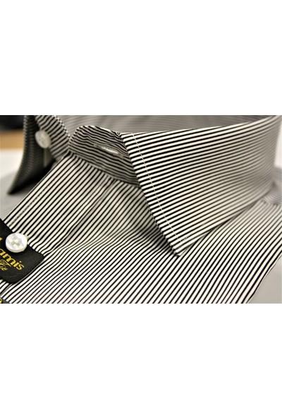 Chamis France Slimfit Siyah Saten Baskı Klasik Yaka Gömlek