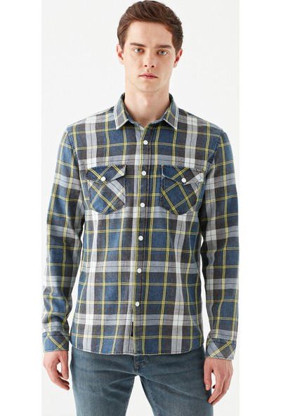 Mavi Erkek Kareli İndigo Gömlek 021800-18790