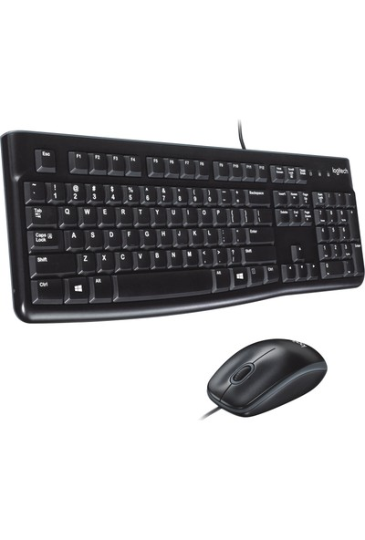 Logitech MK120 USB Kablolu Tam Boyutlu Türkçe Klavye Mouse Seti - Siyah