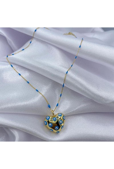 Amon Jewelry 925 Ayar Gümüş Nazar Boncuklu Kalp Amor Kolye