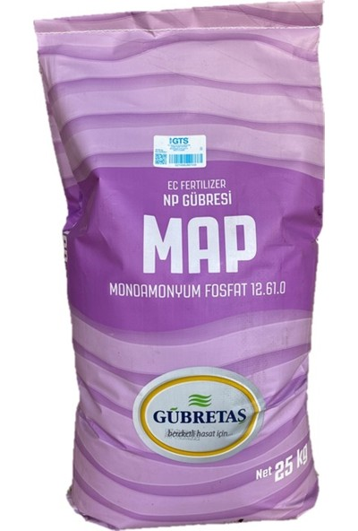 Gübretaş Map 12 61 0 Mono Amonyum Fosfat Yaprak Damla Sulama Suda Çözünür Azot Fosfor Np Gübresi 25 kg