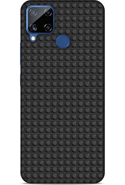 Lopard Oppo Realme C15 Uyumlu Kılıf Blox (8) Baskılı Kılıf Siyah