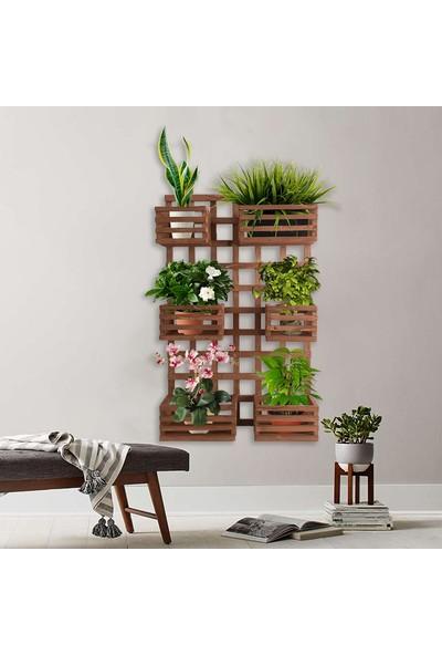 Ince Çizgi Store Çok Amaçlı Dekoratif Ahşap Raflı Çiçek Saksı Rafı Standı INC0122