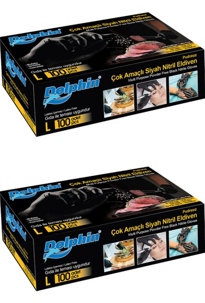 Dolphin Çok Amaçlı Siyah Nitril Purasız Eldiven (L) 100'lü x 2 (Gıdaya Uygun)