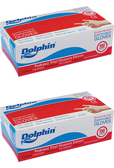 Dolphin Beyaz Vinil Eldiven Pudrasız (M) 100'lü x 2