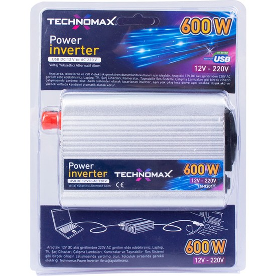 Technomax Inverter Çevirici 12V DC-220V AC(600) TM9201