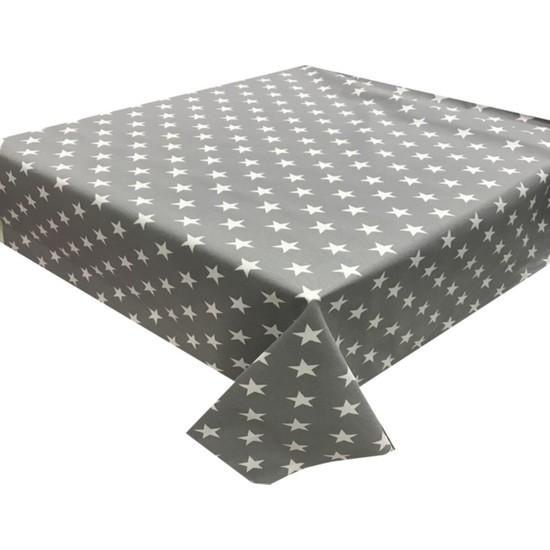 Derinteks Gri Beyaz Yıldızlı Dertsiz Masa Örtüsü 130 x 160 cm & 6 Adet Peçete