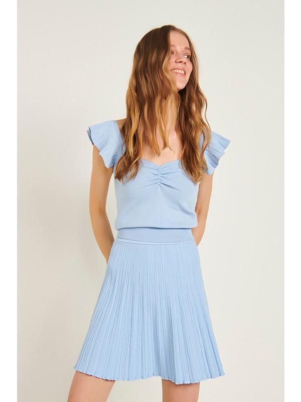 Join Us Büzgü Detaylı Kolları Fırfrılı Triko Bluz-Açık Mavi