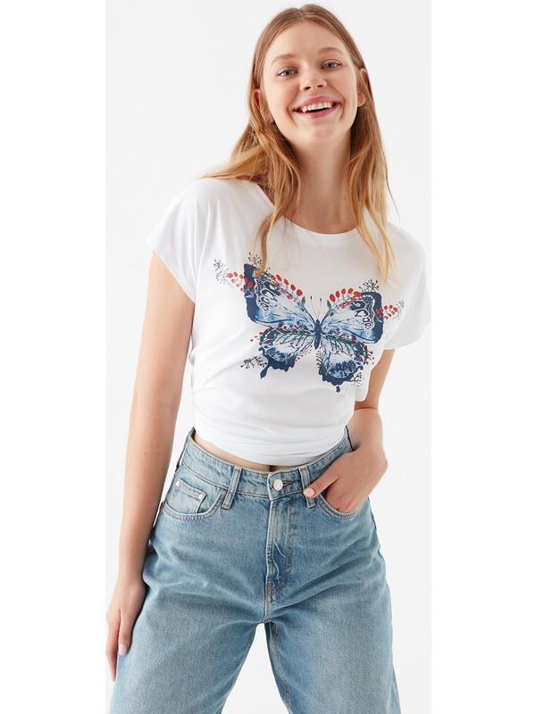 Mavi Kadın Kelebek Baskılı Beyaz Tişört 1600522-620