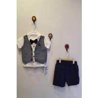 Minidoll Erkek Bebek 6-18 Ay Sahte Yelekli Papyonlu Ikili Takım