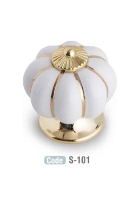 Tomurcuk 3 Adet Porselen Mobilya Kulbu Beyaz Altın Tek Delik