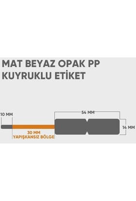 Bver Opak Pp Yapışkansız Kuyruklu Barkod Ürün Etiketi Mat Beyaz