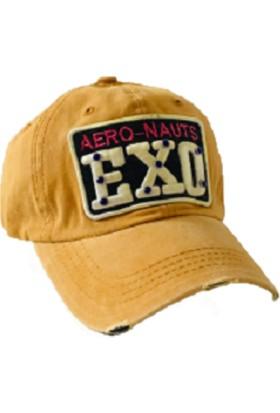 Cap Ny Eskitme Tasarım Cap Şapka Kadın Hardal Sarısı- Kot Kumaş Taşlı Baskılı Hip Hop Polo Spor