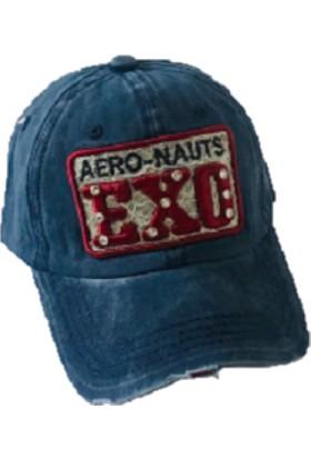 Cap Ny Eskitme Tasarım Cap Şapka Kadın Mavi- Kot Kumaş Taşlı Baskılı Hip Hop Polo Spor