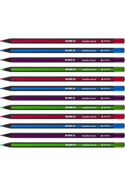 Adel Blackline Renkli Kurşun Kalem Başlık Kalemi 12'li