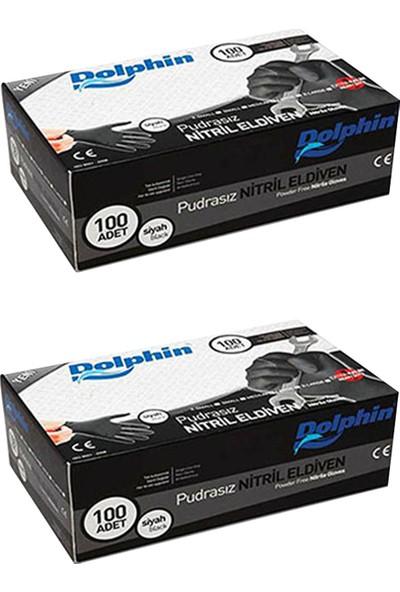 Dolphin Siyah Nitril Eldiven Pudrasız Ekstra Kalın (L) 100'lü x 2 Paket