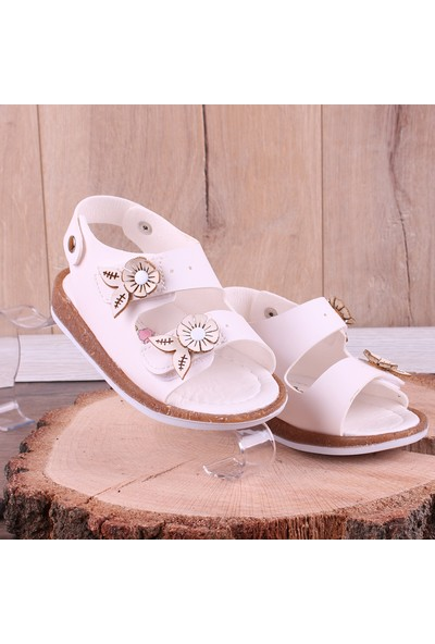 Akıllı Şirin İlk Adım Kız Çocuk Sandalet Beyaz