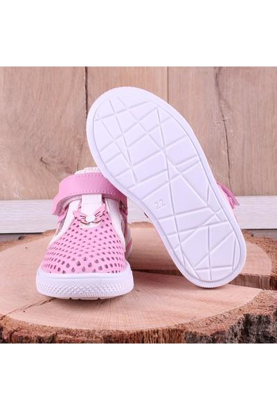 Akıllı Şirin Kelebek Süslemeli Kapalı Delikli Kız Çocuk Ayakkabı Pembe Beyaz