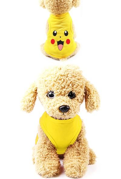 Marksreyon Kedi Köpek Elbiseleri Çizgi Karakterli Sevimli Gezdirme Giysileri - Sarı - S