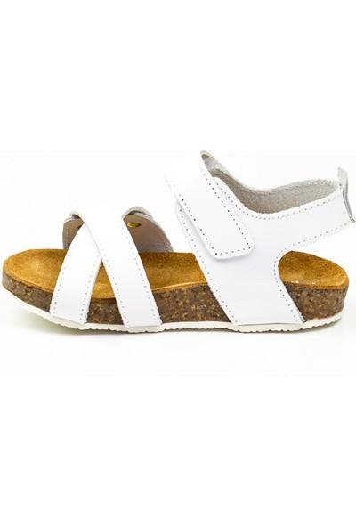 Sanbe 510 T 2008 Beyaz Deri Bebek Sandalet