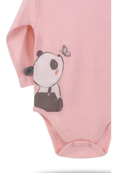 Babyland Biorganic Elegant Panda Kız Bebek Çıtçıtlı Uzunkol Yaş Badi Zıbın