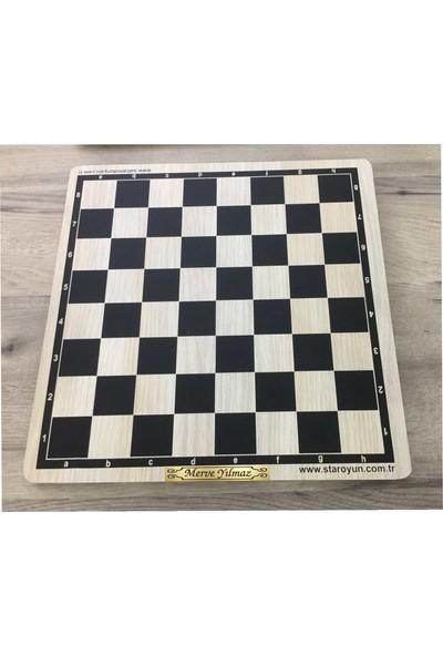 Chess Altın Metal Isme Özel Ahşap Satranç Takımı