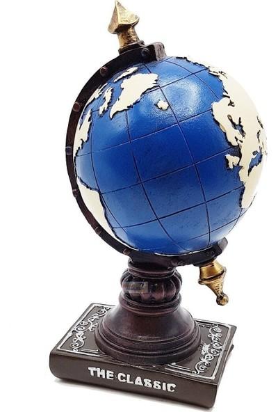 Bbc Dekoratif Dünya Küresi Polyester Kumbara Saatli Dekor Biblo 22 cm