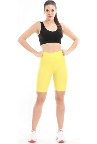 Lıwıts Kadın Yüksek Bel Toparlayıcı Diz Üstü Sarı Tayt
