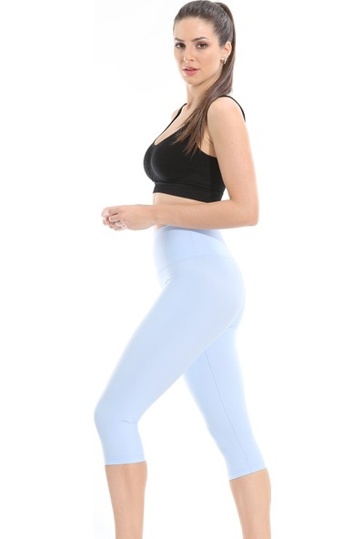 Lıwıts Kadın Yüksek Bel Toparlayıcı Diz Altı Açık Mavi Tayt