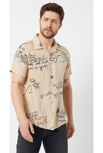 Tarz Cool Erkek Bej Modelli Regular Fit Gömlek-SGMLKR01S