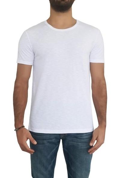 Bigazzi Erkek Sıfır Yaka Ribanalı Tshirt 3259-029 Beyaz