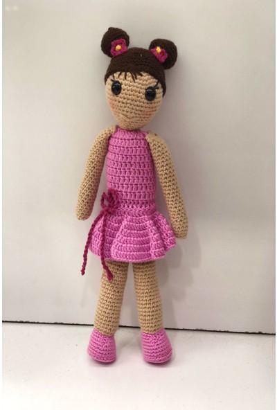 Hayat 9874 Amigurumi Çocuk Oyuncak Pembe Elbiseli 36 cm Örme Bebek