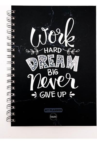 Work Hard Dream Big Telli Planlayıcı Defter Ajanda