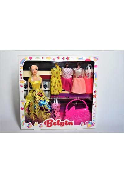 Kembay Toys Belgin Kutulu Oyuncak Bebek 5 Adet Yedek Elbise + 1 Adet Çanta