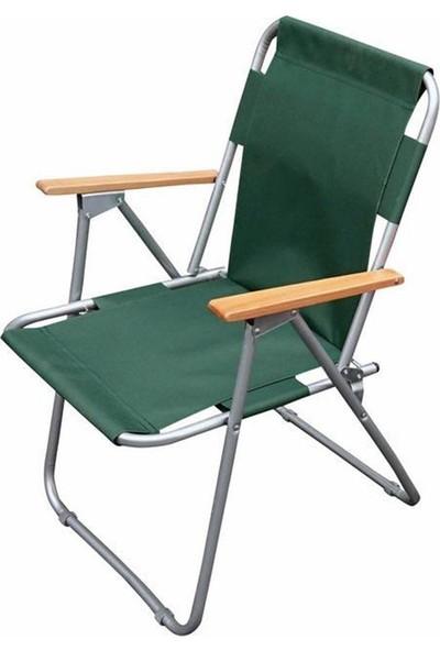 Tevalli Katlanır Kamp Sandalyesi Piknik Balkon Bahçe Koltuğu Yeşil