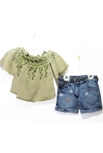 Burç Bebe Life For Moda Kız Çocuk Dantelli Valon Kollu Kot Şortlu 2 'li Takım 127