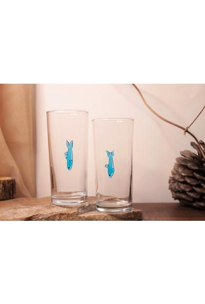 Adamodart Mavi Balık 2'li Rakı Bardağı