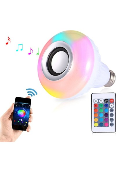 Powerlux Kumandalı Rgb Renkli Hoparlörlü LED Ampul Bluetooth 2453492870084