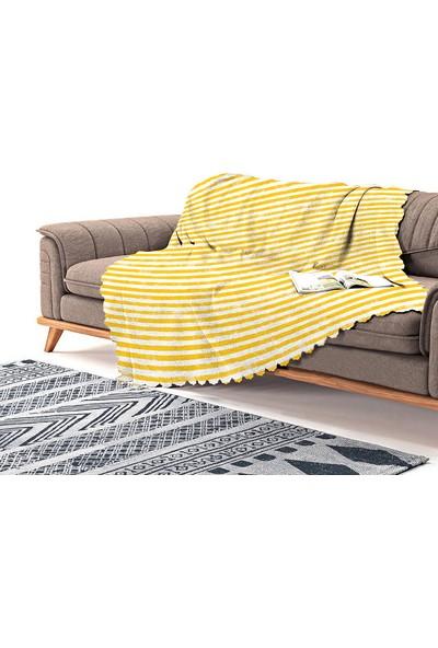 Realhomes Sarı Çizgili Motifli Modern Şönil Koltuk Örtüsü
