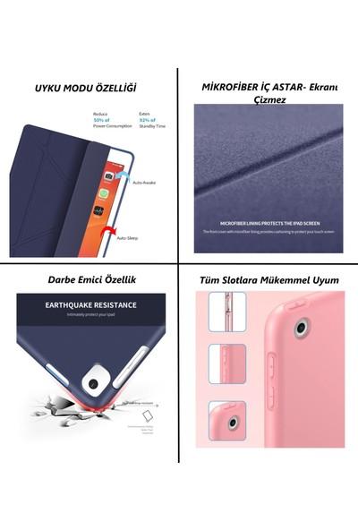 Fujimax Apple iPad 7. Nesil 10.2 A2200 A2197 A2198 A2270 Yatay ve Dikey Standlı Trifold ( Origami ) Arka Soft Silikon T.p.u Uyku Modlu Premium Leather Smart Kılıf Kırmızı