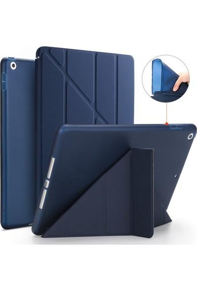Apple iPad 7. Nesil 10.2 A2200 A2197 A2198 A2270 Yatay ve Dikey Standlı Trifold ( Origami ) Arka Soft Silikon T.p.u Uyku Modlu Premium Leather Smart Kılıf Lacivert