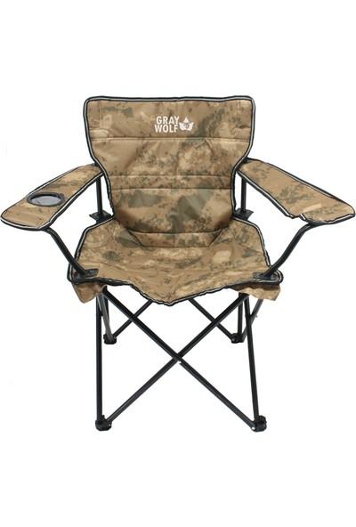 Gray Wolf Katlanır Bardaklı Lüks Kamp Sandalyesi - Balıkçı Sandalyesi (Kamuflaj)