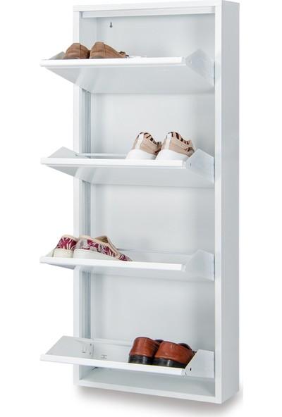 Kaser Metal 4 Lü Metal Ayakkabılık Beyaz