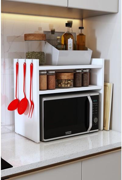 Bayz Mikrodalga Fırın Standı Mutfak Tezgah Üstü Raf Baharatlık Dolap Düzenleyici Toplayıcı