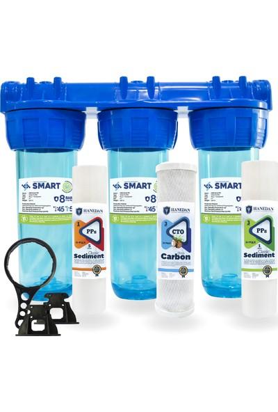 Smart 10 Inc Kireç ve Klor Önleyici 3lü Daire ve Bina Girişi Su Arıtma Cihazı
