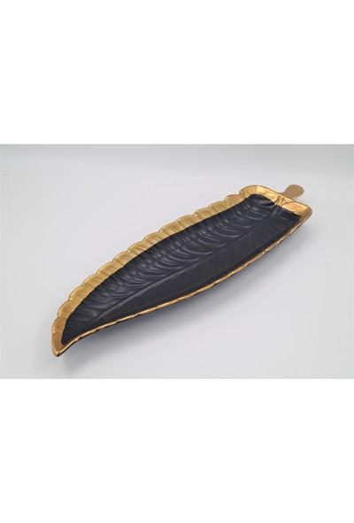 BHRHOME Gold-Siyah Yaprak Kayık Tabak