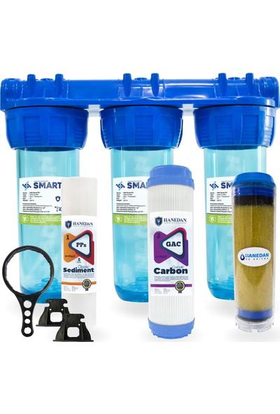 Smart Reçineli ve Gaclı 10 Inc Kireç ve Klor Önleyici 3lü Daire ve Bina Girişi Su Arıtma Cihazı