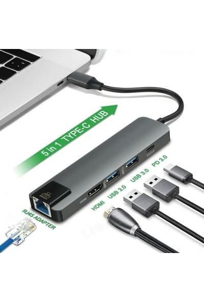 Alfais 4332 USB 3.1 Type C To HDMI 2xusb 3.0 Gigabit Ethernet Çevirici Dönüştürücü Adaptör