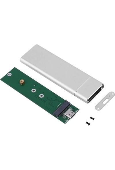Alfais 4357 M.2 Sata SSD Ngff To Type C USB 3.0 B-Key Mini Çevirici Adaptör Harici Harddisk Kutusu