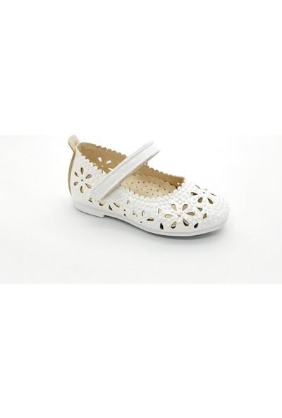 Sema Kız Çocuk Lazer Işlemli Çiçekli Babet Ayakkabı (31-36) 32 - Sedef